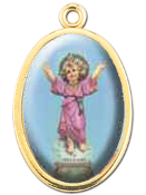 "Enameled Oval Divino Nino Picture Medal Gold Highlights...7/8"" Enameled Oval Picture Medal with Gold Highlights. (Packs of 10)"