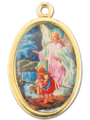 "Enameled Oval Guardian Angel Picture Medal Gold Highlights...7/8"" Enameled Oval Picture Medal with Gold Highlights. (Packs of 10)"