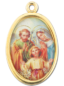"Enameled Oval Holy Family Picture Medal Gold Highlights...7/8"" Enameled Oval Picture Medal with Gold Highlights. (Packs of 10)"