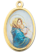 "Enameled Oval Madonna of the Street Picture Medal Gold Highlights...7/8"" Enameled Oval Picture Medal with Gold Highlights. (Packs of 10)"
