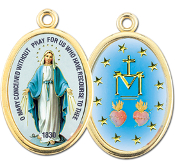 "Enameled Oval Miraculous Medal Picture Medal Gold Highlights...7/8"" Enameled Oval Picture Medal with Gold Highlights. (Packs of 10)"