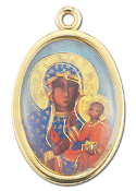 "Enameled Oval Lady of Czestochowa Picture Medal Gold Highlights...7/8"" Enameled Oval Picture Medal with Gold Highlights. (Packs of 10)"