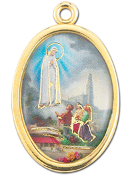 "Enameled Oval Lady of Fatima Picture Medal Gold Highlights...7/8"" Enameled Oval Picture Medal with Gold Highlights. (Packs of 10)"