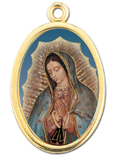 "Enameled Oval Lady of Guadalupe Picture Medal Gold Highlights...7/8"" Enameled Oval Picture Medal with Gold Highlights. (Packs of 10)"