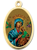 "Enameled Oval Lady of Perpetual Help Picture Medal Gold Highlights...7/8"" Enameled Oval Picture Medal with Gold Highlights. (Packs of 10)"
