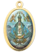 "Enameled Oval Lady of San Juan Picture Medal Gold Highlights...7/8"" Enameled Oval Picture Medal with Gold Highlights. (Packs of 10)"