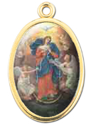 "Enameled Oval Lady of Untier of Knots Picture Medal Gold Highlights...7/8"" Enameled Oval Picture Medal with Gold Highlights. (Packs of 10)"