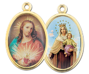 "Enameled Oval Sacred Heart/O.L of Mt. Carmel Scapular Picture Medal Gold Highlights...7/8"" Enameled Oval Picture Medal with Gold Highlights. (Packs of 10)"