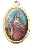 "Enameled Oval St. Agatha Picture Medal Gold Highlights...7/8"" Enameled Oval Picture Medal with Gold Highlights. (Packs of 10)"