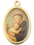 "Enameled Oval St. Anthony Picture Medal Gold Highlights...7/8"" Enameled Oval Picture Medal with Gold Highlights. (Packs of 10)"