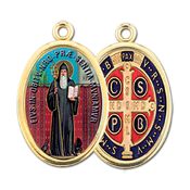 "Enameled Oval St. Benedict Picture Medal Gold Highlights...7/8"" Enameled Oval Picture Medal with Gold Highlights. (Packs of 10)"