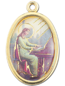 "Enameled Oval St. Cecilia Picture Medal Gold Highlights...7/8"" Enameled Oval Picture Medal with Gold Highlights. (Packs of 10)"