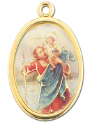 "Enameled Oval St. Christopher Picture Medal Gold Highlights...7/8"" Enameled Oval Picture Medal with Gold Highlights. (Packs of 10)"