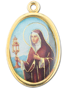 "Enameled Oval St. Clare Picture Medal Gold Highlights...7/8"" Enameled Oval Picture Medal with Gold Highlights. (Packs of 10)"