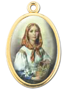 "Enameled Oval St. Dymphna Picture Medal Gold Highlights...7/8"" Enameled Oval Picture Medal with Gold Highlights. (Packs of 10)"