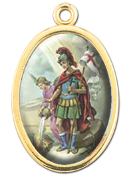 "Enameled Oval St. Florian Picture Medal Gold Highlights...7/8"" Enameled Oval Picture Medal with Gold Highlights. (Packs of 10)"