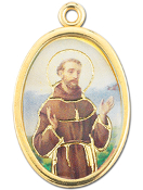 "Enameled Oval St. Francis Picture Medal Gold Highlights...7/8"" Enameled Oval Picture Medal with Gold Highlights. (Packs of 10)"