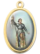 "Enameled Oval St. Joan of Arc Picture Medal Gold Highlights...7/8"" Enameled Oval Picture Medal with Gold Highlights. (Packs of 10)"