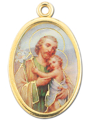 "Enameled Oval St. Joseph Picture Medal Gold Highlights...7/8"" Enameled Oval Picture Medal with Gold Highlights. (Packs of 10)"