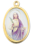 "Enameled Oval St. Lucy Picture Medal Gold Highlights...7/8"" Enameled Oval Picture Medal with Gold Highlights. (Packs of 10)"