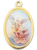 "Enameled Oval St. Michael Picture Medal Gold Highlights...7/8"" Enameled Oval Picture Medal with Gold Highlights. (Packs of 10)"