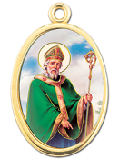 "Enameled Oval St. Patrick Picture Medal Gold Highlights...7/8"" Enameled Oval Picture Medal with Gold Highlights. (Packs of 10)"