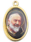 "Enameled Oval St. Pio Picture Medal Gold Highlights...7/8"" Enameled Oval Picture Medal with Gold Highlights. (Packs of 10)"