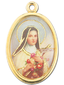 "Enameled Oval St. Therese Picture Medal Gold Highlights...7/8"" Enameled Oval Picture Medal with Gold Highlights. (Packs of 10)"