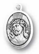"ECCE HOMO/MATER DOLOROSA MEDAL. A Great Deal! 1"" In Height - Most Popular Oval Design From Italy Die Cast for Exceptional Detail and Silver Oxidized Dimensional Finish. Can Wear Around Neck or Attach to Rosaries, Jewelry, Etc."