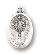 "Blessed Sacrament medal A Great Deal! 1"" In Height - Most Popular Oval Design From Italy Die Cast for Exceptional Detail and Silver Oxidized Dimensional Finish. Can Wear Around Neck or Attach to Rosaries, Jewelry, Etc."