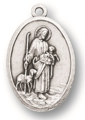 "Jesus-Good Shepherd MEDAL. A Great Deal! 1"" In Height - Most Popular Oval Design From Italy Die Cast for Exceptional Detail and Silver Oxidized Dimensional Finish. Can Wear Around Neck or Attach to Rosaries, Jewelry, Etc."