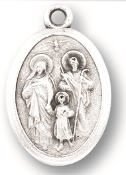 "Holy Family MEDAL. A Great Deal! 1"" In Height - Most Popular Oval Design From Italy Die Cast for Exceptional Detail and Silver Oxidized Dimensional Finish. Can Wear Around Neck or Attach to Rosaries, Jewelry, Etc."