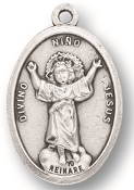 "Nino Divino MEDAL. A Great Deal! 1"" In Height - Most Popular Oval Design From Italy Die Cast for Exceptional Detail and Silver Oxidized Dimensional Finish. Can Wear Around Neck or Attach to Rosaries, Jewelry, Etc."