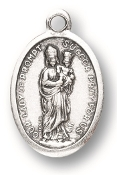 "Our Lady of Prompt Succor MEDAL. A Great Deal! 1"" In Height - Most Popular Oval Design From Italy Die Cast for Exceptional Detail and Silver Oxidized Dimensional Finish. Can Wear Around Neck or Attach to Rosaries, Jewelry, Etc."