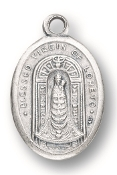 "Our Lady of Loretto MEDAL. A Great Deal! 1"" In Height - Most Popular Oval Design From Italy Die Cast for Exceptional Detail and Silver Oxidized Dimensional Finish. Can Wear Around Neck or Attach to Rosaries, Jewelry, Etc."