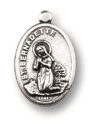 "Our Lady of Lourdes St Bernadette MEDAL. A Great Deal! 1"" In Height - Most Popular Oval Design From Italy Die Cast for Exceptional Detail and Silver Oxidized Dimensional Finish. Can Wear Around Neck or Attach to Rosaries, Jewelry, Etc."