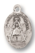 "Our Lady of Montserrat/SHJ MEDAL. A Great Deal! 1"" In Height - Most Popular Oval Design From Italy Die Cast for Exceptional Detail and Silver Oxidized Dimensional Finish. Can Wear Around Neck or Attach to Rosaries, Jewelry, Etc."