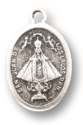 "Our Lady of San Juan De Los Lagos MEDAL. A Great Deal! 1"" In Height - Most Popular Oval Design From Italy Die Cast for Exceptional Detail and Silver Oxidized Dimensional Finish. Can Wear Around Neck or Attach to Rosaries, Jewelry, Etc."