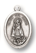 "Our lady of del Cobre MEDAL. A Great Deal! 1"" In Height - Most Popular Oval Design From Italy Die Cast for Exceptional Detail and Silver Oxidized Dimensional Finish. Can Wear Around Neck or Attach to Rosaries, Jewelry, Etc."