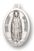"Our Lady of Knock MEDAL. A Great Deal! 1"" In Height - Most Popular Oval Design From Italy Die Cast for Exceptional Detail and Silver Oxidized Dimensional Finish. Can Wear Around Neck or Attach to Rosaries, Jewelry, Etc."