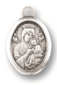 "Our Lady of Perpetual Help MEDAL. A Great Deal! 1"" In Height - Most Popular Oval Design From Italy Die Cast for Exceptional Detail and Silver Oxidized Dimensional Finish. Can Wear Around Neck or Attach to Rosaries, Jewelry, Etc."