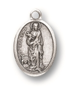 "Saint Agatha MEDAL. A Great Deal! 1"" In Height - Most Popular Oval Design From Italy Die Cast for Exceptional Detail and Silver Oxidized Dimensional Finish. Can Wear Around Neck or Attach to Rosaries, Jewelry, Etc."