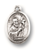 "Saint Andrew MEDAL. A Great Deal! 1"" In Height - Most Popular Oval Design From Italy Die Cast for Exceptional Detail and Silver Oxidized Dimensional Finish. Can Wear Around Neck or Attach to Rosaries, Jewelry, Etc."