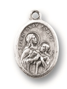 "Saint Anne MEDAL. A Great Deal! 1"" In Height - Most Popular Oval Design From Italy Die Cast for Exceptional Detail and Silver Oxidized Dimensional Finish. Can Wear Around Neck or Attach to Rosaries, Jewelry, Etc."