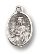 "Saint Barbara MEDAL. A Great Deal! 1"" In Height - Most Popular Oval Design From Italy Die Cast for Exceptional Detail and Silver Oxidized Dimensional Finish. Can Wear Around Neck or Attach to Rosaries, Jewelry, Etc."