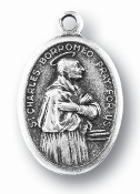 "Saint Charles Borromeo MEDAL. A Great Deal! 1"" In Height - Most Popular Oval Design From Italy Die Cast for Exceptional Detail and Silver Oxidized Dimensional Finish. Can Wear Around Neck or Attach to Rosaries, Jewelry, Etc."