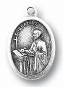 "Saint Ignatius of Loyola MEDAL. A Great Deal! 1"" In Height - Most Popular Oval Design From Italy Die Cast for Exceptional Detail and Silver Oxidized Dimensional Finish. Can Wear Around Neck or Attach to Rosaries, Jewelry, Etc."