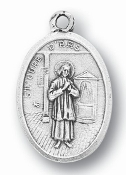 "Saint John Vianney MEDAL. A Great Deal! 1"" In Height - Most Popular Oval Design From Italy Die Cast for Exceptional Detail and Silver Oxidized Dimensional Finish. Can Wear Around Neck or Attach to Rosaries, Jewelry, Etc."