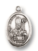 "Saint Blaise MEDAL. A Great Deal! 1"" In Height - Most Popular Oval Design From Italy Die Cast for Exceptional Detail and Silver Oxidized Dimensional Finish. Can Wear Around Neck or Attach to Rosaries, Jewelry, Etc."