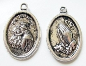 10/Pc St Anthony with Praying Hands on back side Antique SILVER FINISH medal 1""